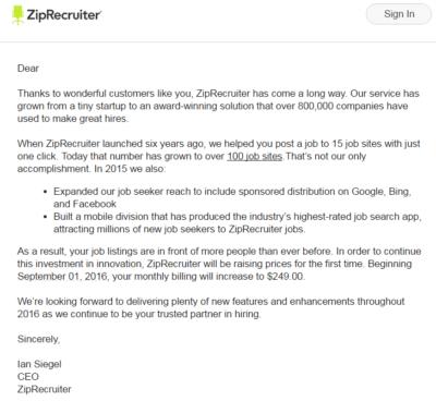 ZipRecruiter price-hike email